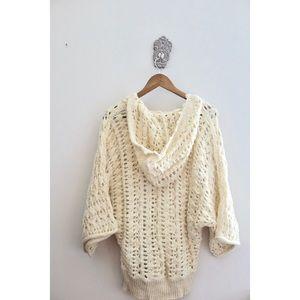 Free People Sweaters - Free People Cream Chunky Knit Oversized Sweater